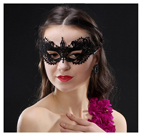 Lace Eye Mask Masquerade Costume - Sexy Party Prom Ball Halloween Black Womens Girls Sturdy & Fixed - Female Eye Shapes