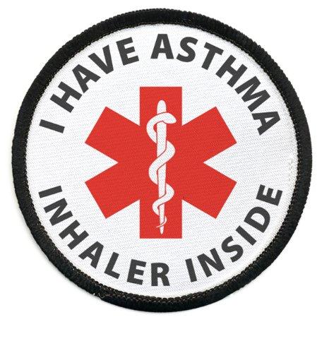 I HAVE ASTHMA INHALER INSIDE Black Rim Medical Alert 2.5 inch Sew-on Patch