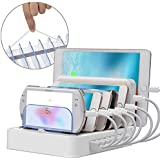 7-Port USB Charging Station MSTJRY Cell Phone Charger for Multiple Devices Fast Charging Compatible iPad, iPhone, Samsung Galaxy, LG, Nexus, Tablets (White, No Included Cables)