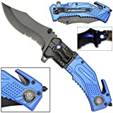 Rogue River Tactical 5-in-1 Multitool Pocket Rescue Combat Knife with Line Cutter, Belt Clip, LED Light, Belt Cutter and Window Breaker USN United States Navy Multi Tool Spring Assisted …