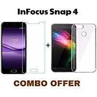 M.G.R.J Tempered Glass + Transparent Back Cover [Combo Pack] for InFocus Snap 4