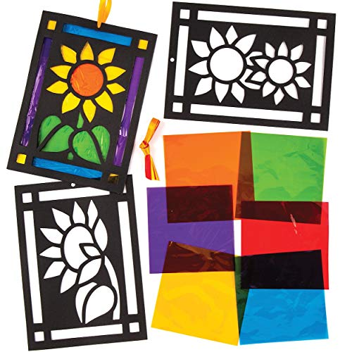(Baker Ross Sunflower Stained Glass Decorations (Pack of 6) AW432 for Kids to Assemble and Display)