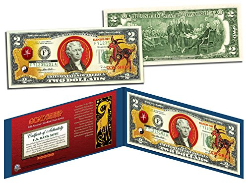 Zodiac Sheep - Chinese Zodiac YEAR OF GOAT / SHEEP Colorized $2 Bill Legal Tender Lucky Money by Merrick Mint
