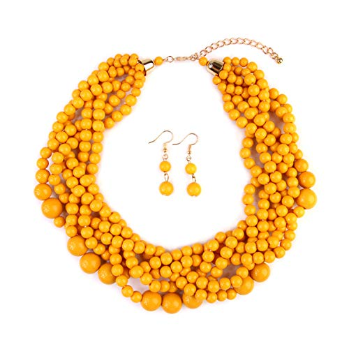 RIAH FASHION Braided Chunky Cluster Bead Bubble Statement Necklace - Multi Strand Twisted Colorful Twisted Ball Hammock Bib Collar (Mustard)