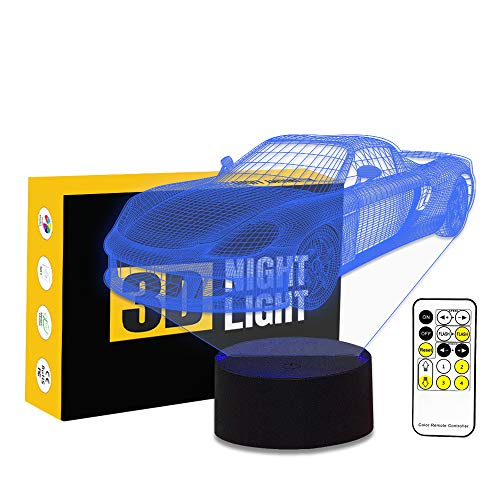 - Circle Circle Sports Car Shape 3D Optical Illusion Lamp 7 Colors Change Touch Button and 15 Keys Remote Control LED Night Light Perfect Gifts Toys
