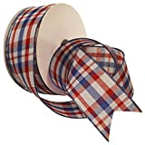 Morex Ribbon 7380.60/50-914 Color Chic Plaid French Wired Ribbon, 2-1/2-Inch by 50-Yard Spool, Red, White and Aqua