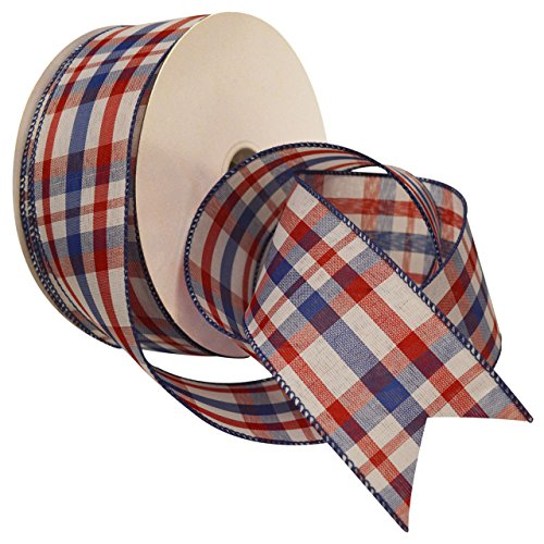 Morex Ribbon Color Chic Plaid Wired Ribbon, 2-1/2-Inch by 50-Yard Spool, Red/White/Blue ()