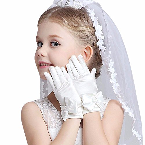 Dsood Girls Gorgeous Satin Fancy Gloves for Special Occasion Dress Formal Wedding Pageant Party Short (White-1) -