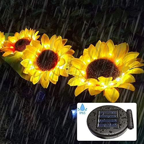 Sunflower Solar Lights Outdoor, 2pcs LED Lawn for Outdoor Garden Outdoor Garden Powerful Sunflower Solar Lamps Night Light, for Terrace, Courtyard Decoration.
