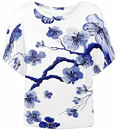 INTERESTPRINT Women Batwing Sleeve Loose Blouse Tunic Tops / INTERESTPRINT Women Batwing Sleeve Loose Blouse Tunic Tops