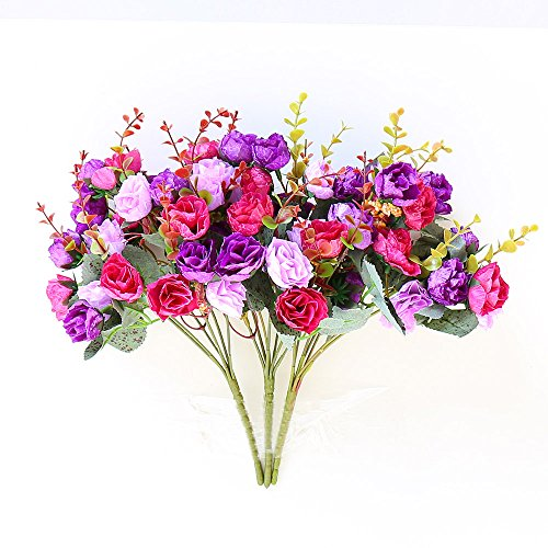Floral Arrangements Assorted Silk Flowers - YILIYAJIA Artificial Rose Flowers Bouquets 21 Assorted Slik Flowers Bunch Plants for Wedding Home Decoration,Pack of 3 (Purple)