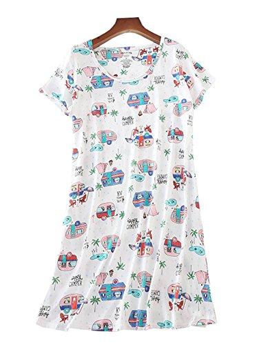 VENTELAN Women Nightgown Cute Short Sleeve Summer Sleepwear Dress Cotton Pajama by VENTELAN (Image #1)