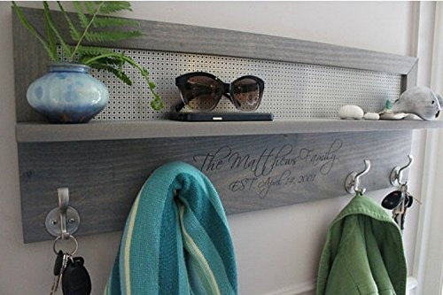 Laser Engraved Personalized 4 Hook Coat Rack, You Pick the Stain and Mesh Color, Beautiful Stained Coat Rack with Laser Engraved Family Name