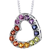 Peora Rainbow Color Heart Pendant Necklace Sterling Silver 2.00 Carats