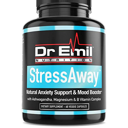 Dr. Emil StressAway - Natural Anxiety Relief Supplement with Ashwagandha, 5-HTP, L Theanine & More – Serotonin & Mood Boost, Stress Relief & Anti Anxiety (60 Veggie ()