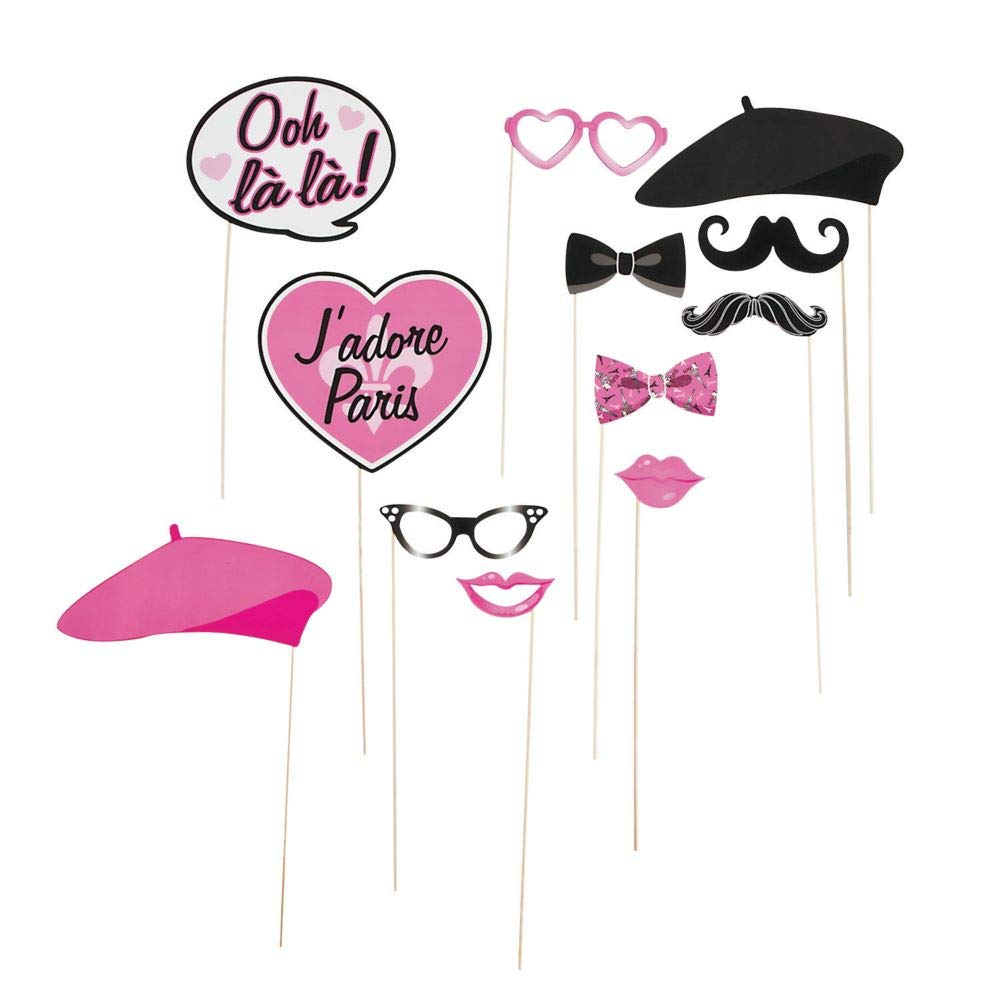 Fun Express - Paper Pink Paris Photo Booth Stick Props - 12 pcs by Party Supplies