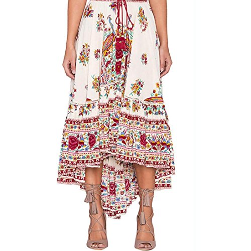 conqueror Femmes Dames Boho Tribal Floral Jupe Maxi Summer Beach Longue Jupe Occasionnelle Dress Rouge
