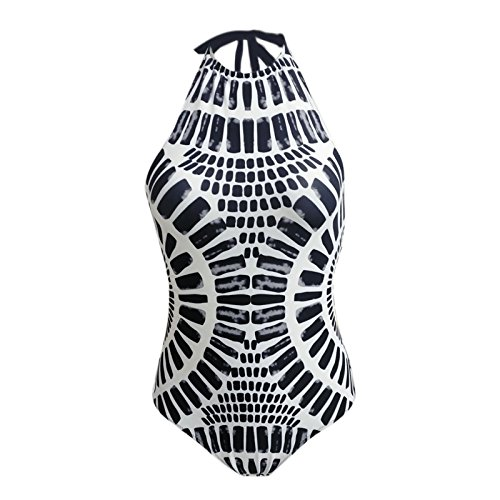 ZILIN Womens High Neck Tropical Tribal Print One Piece Swimsuit Bathing Suit Backless Sexy Swimsuit