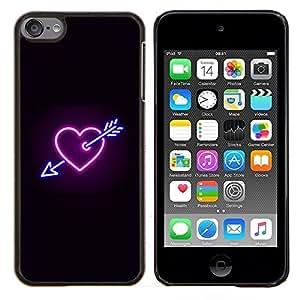 KLONGSHOP // Cubierta de piel con cierre a presión Shell trasero duro de goma Protección Caso - Corazón de neón Negro Heartbreak Regístrate fresca - Apple iPod Touch 6 6th Touch6 //