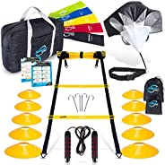 Invincible Fitness 20ft. Agility Ladder Set - Includes 10 Cones, 5 Loop Bands, 4 Hooks, Resistance Parachute,