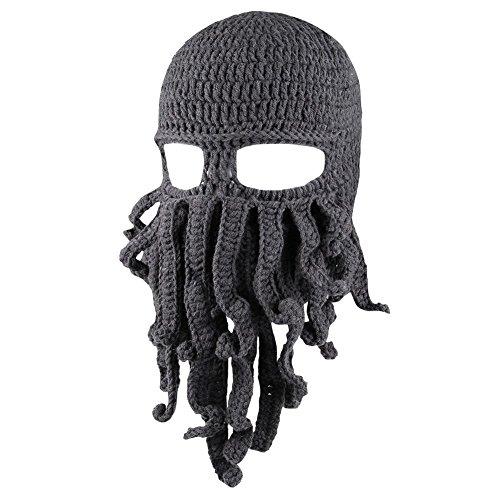 Zuozee Octopus Beanie Hat,Octopus Mask Beard Balaclavas,Halloween Costume Christmas Grey