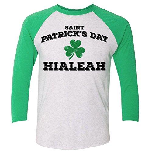 ShirtScope ST Patrick's Day Hialeah FL Baseball Raglan Shirt - Hialeah Fl Us