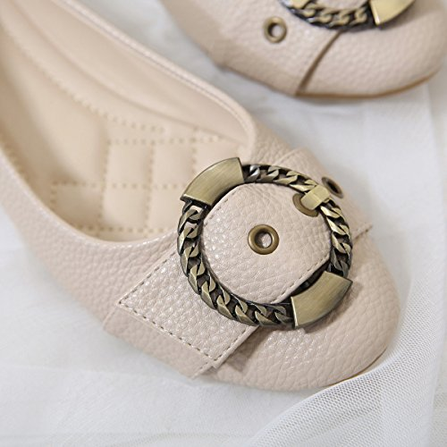 Meeshine Frauen Ballerinas Comfort Slip On Fashion Kleid Schuhe Aprikose