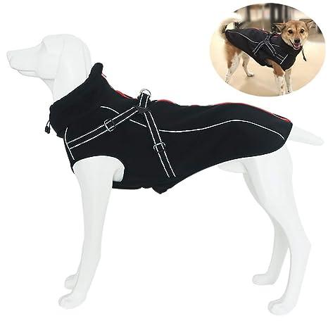 Petilleur Chaqueta Perro Abrigo Perro Invierno Otoño Ropa para Perros Medianos y Grandes con Correa Ajustable