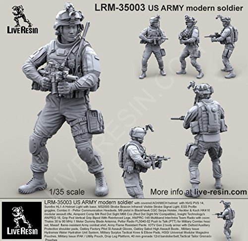 Live Resin 1:35 US Army Soldier with ACH MICH Helmet #3 Resin Kit #LRM35003