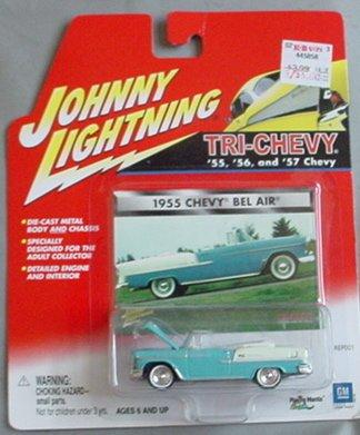 Johnny Lightning Tri-Chevy 1955 Chevy Bel Air BLUE convertible (1955 Chevy Bel Air Convertible)