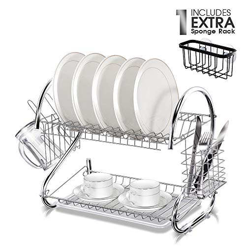 (Two Tier Dish Rack with Cleaning Sponge Rack Chrome Plated Iron Dish Drainer Rack for Kitchen Plate Chopstick Cup Utensil Holder 17.2