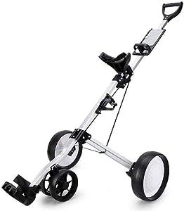 HYQW Carro De Golf De 4 Ruedas Push Pull, Carro De Golf Plegable con Soporte para Bebidas, Carro Compacto De Tiro, Fácil De Abrir