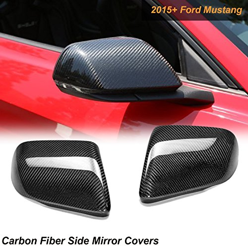 1 Set Carbon Fiber Side Mirror Covers Caps For 2015-2017 Mustang with LED Turn Signal ()