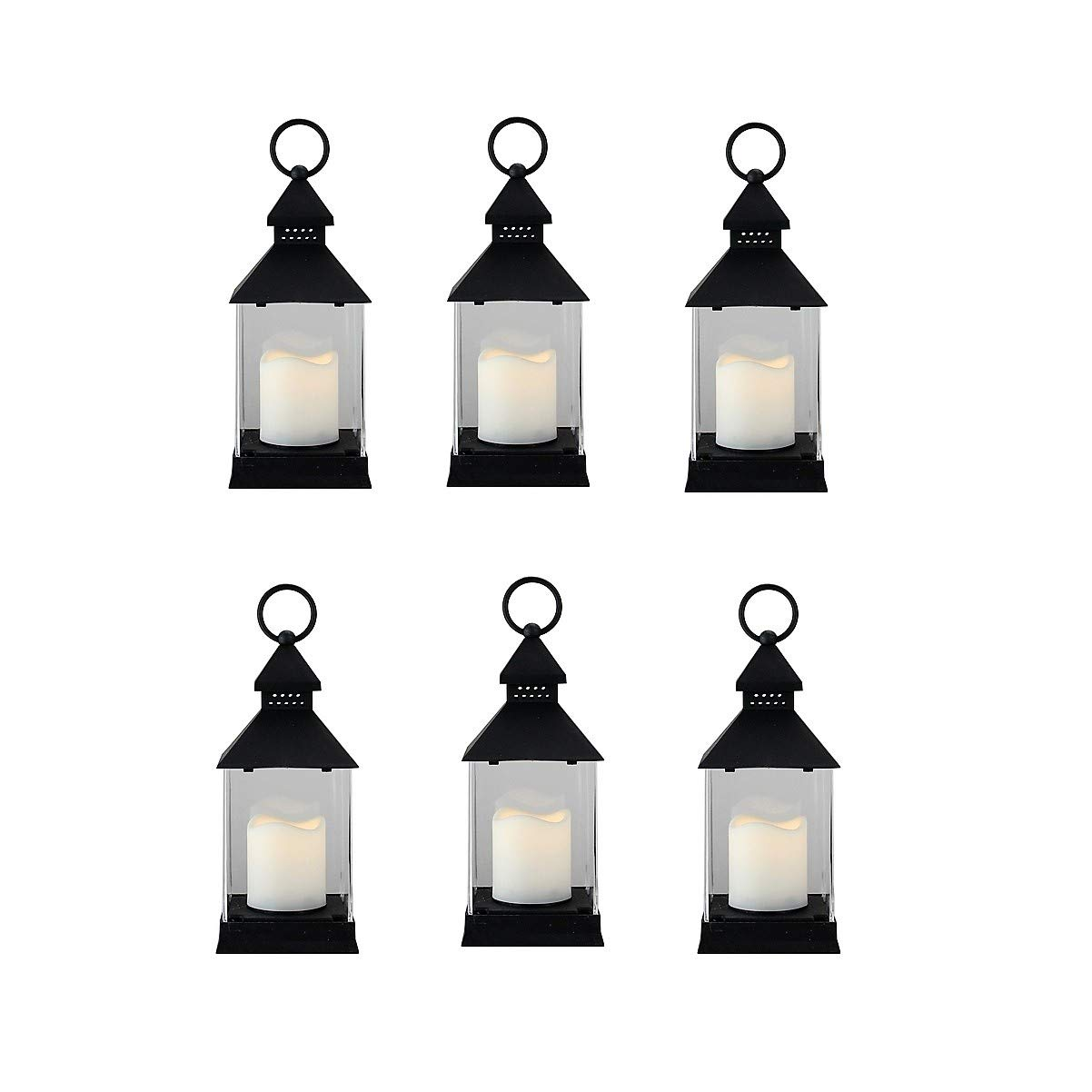 Just In Time for Spring {6 Pc Set} 10'' Decorative Lanterns With Flameless LED Lighted Candle - 5 Hr Timer Modern Look Indoor Outdoor for Home, Garden, Patio, Party Lights, Weddings (Black)