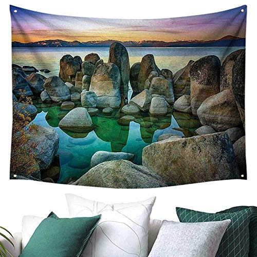 Lake Home Decor Tapestry Various Sized Condensed Rocks in River at Evening Time When Lamps Down Marine Theme a 84W x 70L Inch Grey Green]()