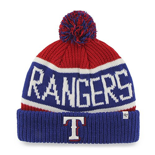 MLB Texas Rangers '47 Brand Calgary Cuff Knit Hat with Pom, Red, One ()