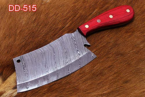 "9.5"" hand forged Damascus steel Butcher knife, Meat cleaver, Red color wood scale, Cow hide Leather sheath with belt loop (Red)"