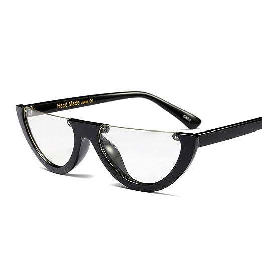 dd03724b8d20 Small Cat Eye Fashion Glasses Women Clear Lens Half Frame Eyeglasses Vintage  (black with clear