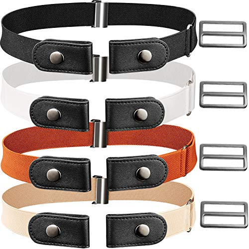 (4 Pieces Elastic No Buckle Belt Adjustable Buckle-Free Belt with 4 Pieces Extra Buckles for Jeans (White, Black, Khaki, Brown))