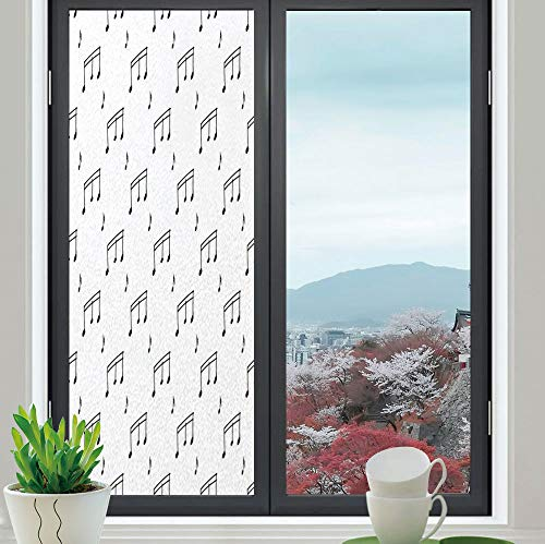(YOLIYANA Privacy Frosted Decorative Vinyl Decal Window Film,Music,for Bathroom, Kitchen, Home, Easy to Install,Musical Notes Themed Melody Sonata Singing Songs Clef,24''x70'')