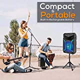 Pyle System-800W Outdoor Bluetooth Speaker Portable PA System w/Microphone in, Party Lights, MP3/USB SD Card Reader, FM Radio, Rolling Wheels-Mic, Remote
