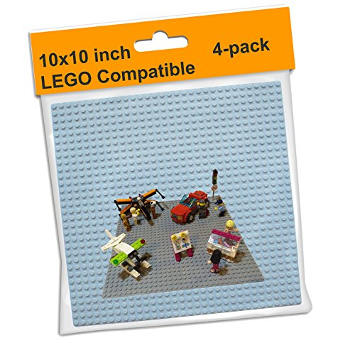 LEGO Compatible Baseplate Board (4-pack) Large Gray 10
