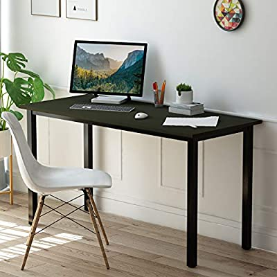 Eyabuynar Computer Desk Writing Table Laptop PC Table Workstation for Home Office (55x23.6 inch, Black + Black Leg) - Material: particleboard + steel pipe 。 Size: 55.1 x 23.62 x 29.1 inches (L x W x H), desktop thickness: 1.57 inches,much thicker than other usual ones 。 Bright as a mirror, not easy to crack, high hardness, easy to wipe, waterproof and moisture-proof 。 - writing-desks, living-room-furniture, living-room - 51R1sLn 3NL. SS400  -