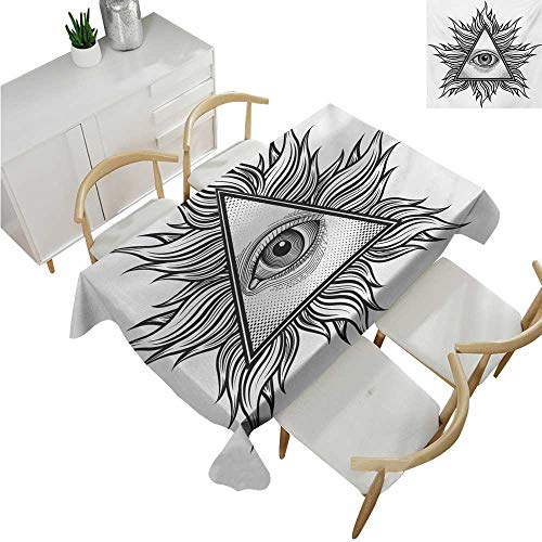 (Eye,Tablecloth Factory,Triangle Shape with Wavy Figures and All Seeing Eye Tattoo Style Spiritual Masonic,Waterproof Table Cover for Kitchen 52
