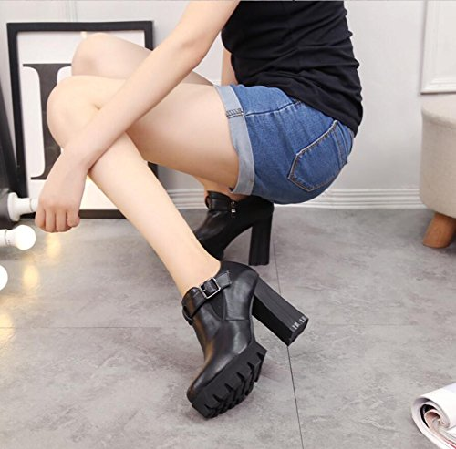 KHSKX-10Cm Black Autumn And Winter New Korean Version Of Women'S Shoes Round Head Belt Buckle Waterproof Taiwan Thick With High-Heeled Boots And Bare Boots Carats Fairies Gun 35 yGT9h