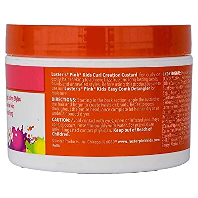 Luster's Pink Kids Curl Creation Custard for Twists & Braids, 8 Ounce Made with Coconut Oil, Shea Butter and Olive Oil.