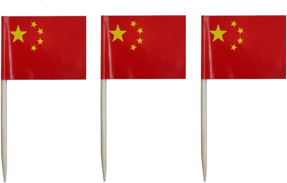JAVD CYPS 100 Pcs China Flag Chinese People Toothpick Flag, Small Mini Stick Cupcake Toppers Jamaican Flags,Country Picks Party Decoration Celebration Cocktail Food Bar Cake Flag