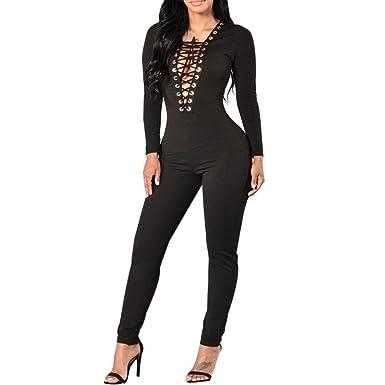 les clients d'abord style le plus récent baskets Carolilly Combinaison Femme Noir Sexy Pantalon Longue ...