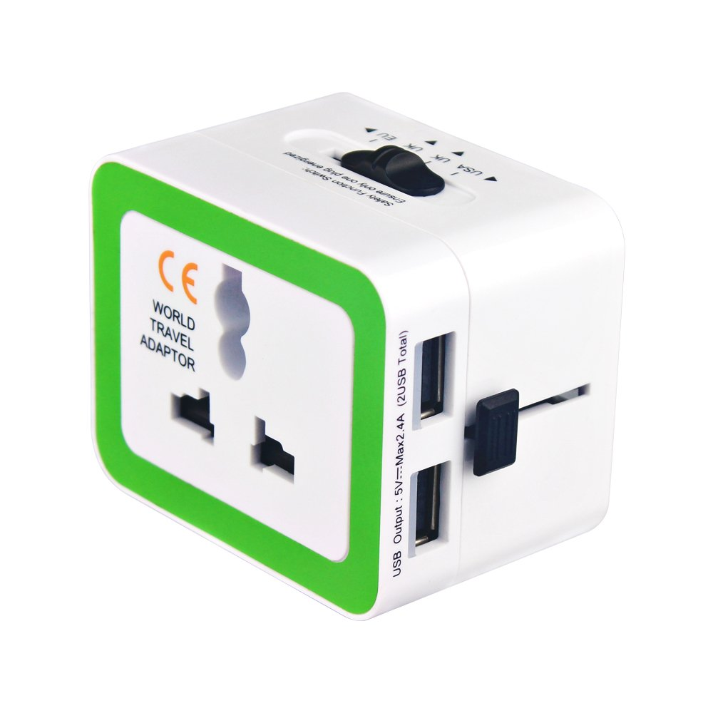 Universal International Travel Power Adapter, High Speed 2.4A 2xUSB Wall Charger, European Adapter, Worldwide AC Outlet Plugs Adapters for Europe, UK, US, AU, Asia(White)