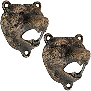 Design Toscano Grizzly Bear of the Woods Wall Mount Bottle Opener, 3 Inch, Set of Two, Cast Iron, Aged Gold